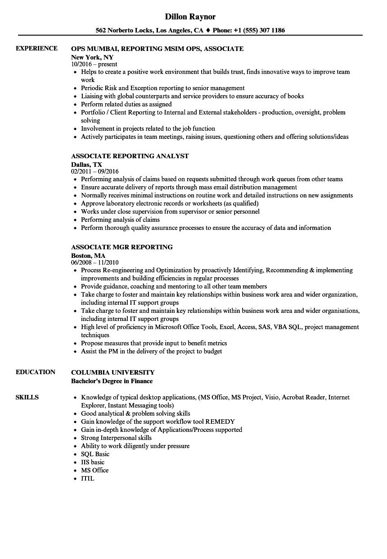 associate  reporting resume samples