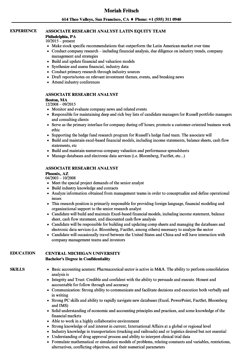 Download Associate Research Analyst Resume Sample As Image File