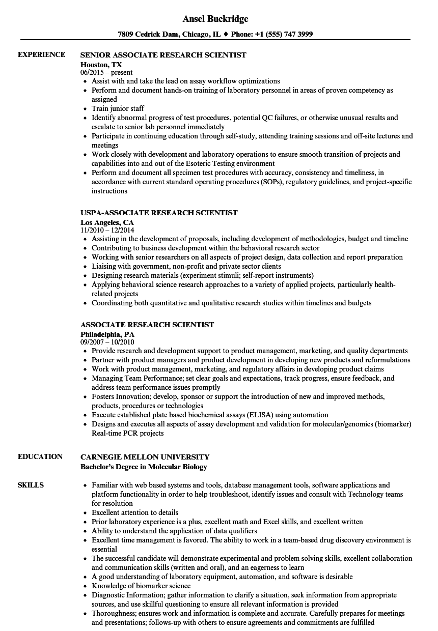 Associate Research Scientist Resume Samples Velvet Jobs
