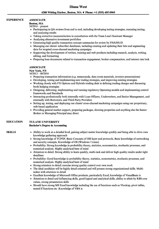 associate resume samples
