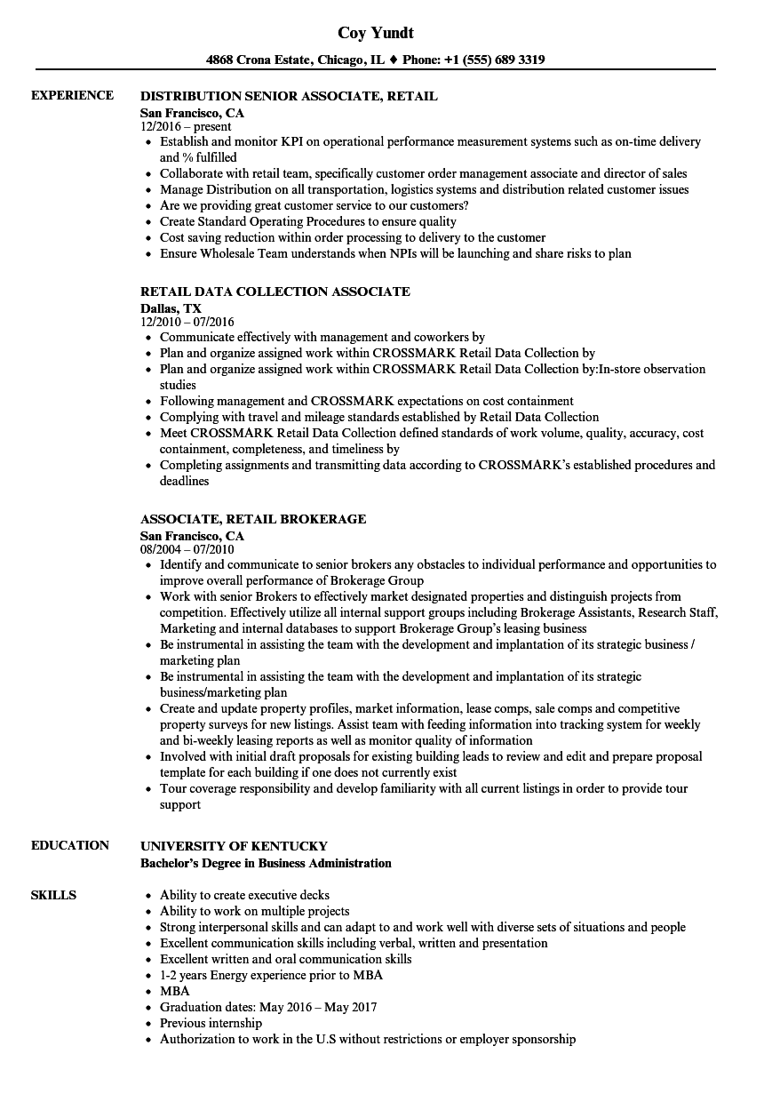 Associate, Retail Resume Samples | Velvet Jobs