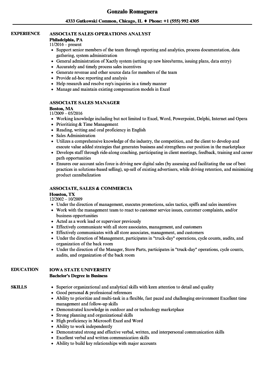 associate  sales resume samples