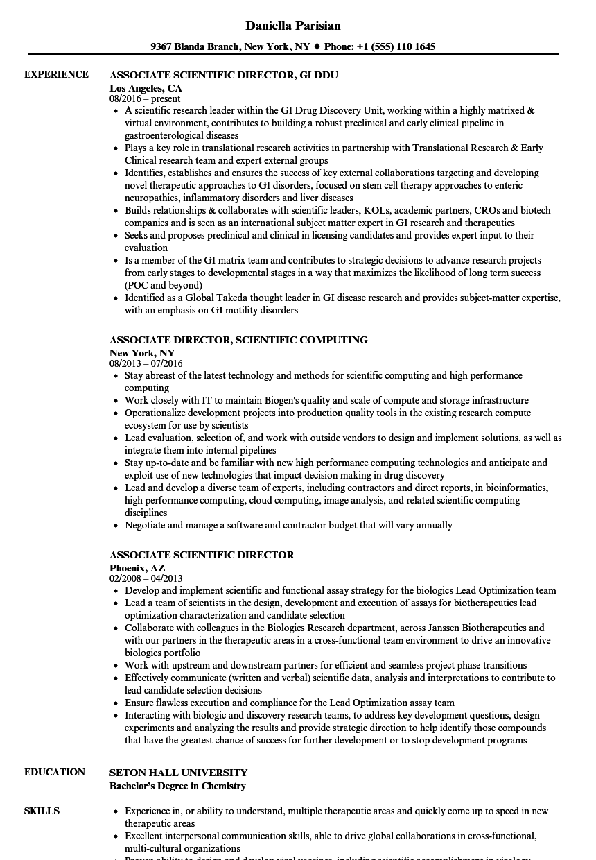 Download Associate Scientific Director Resume Sample As Image File  Director Resume Examples