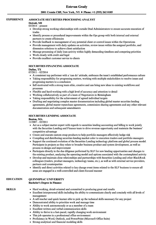 associate  securities resume samples
