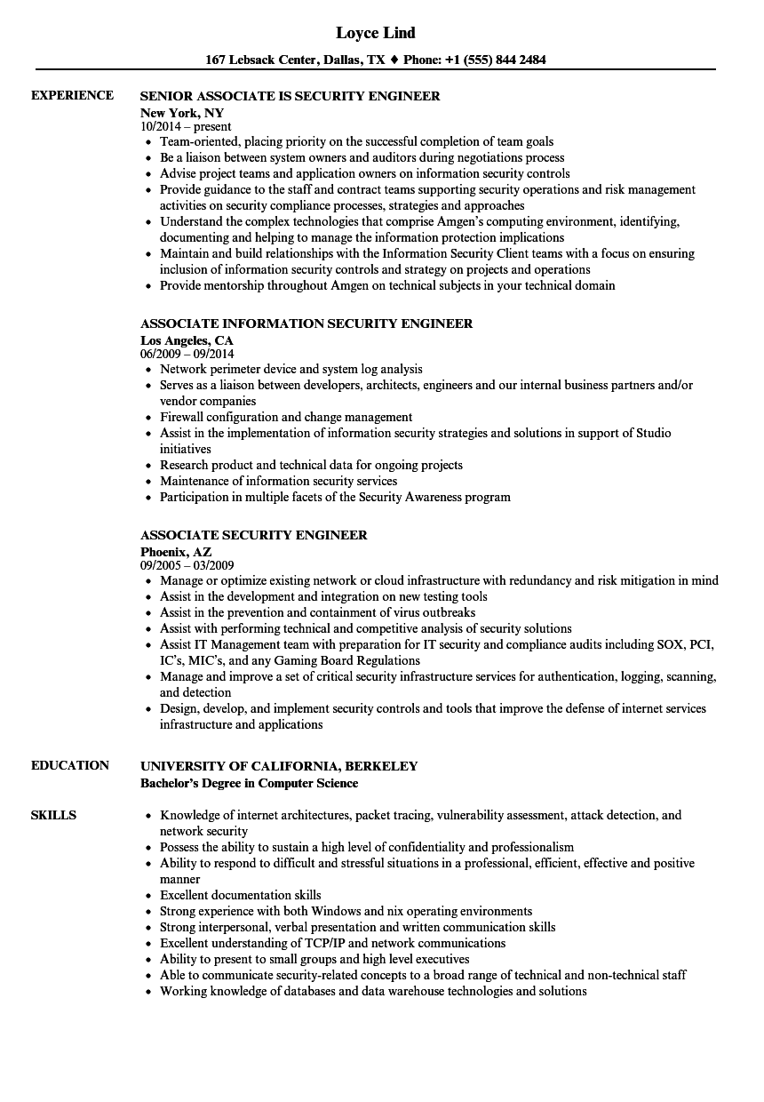 associate security engineer resume samples