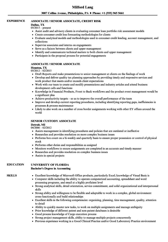 Associate / Senior Associate Resume Samples | Velvet Jobs