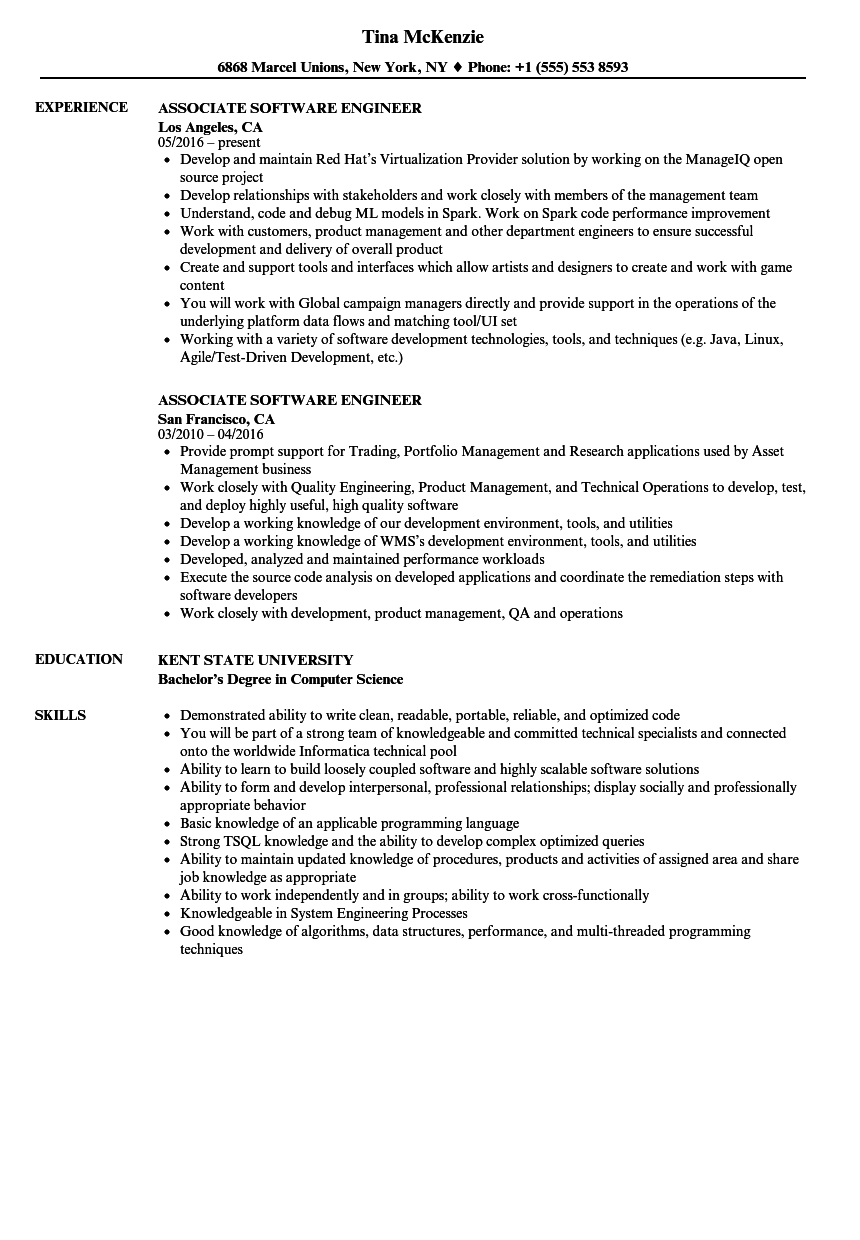 Associate Software Engineer Resume Samples | Velvet Jobs