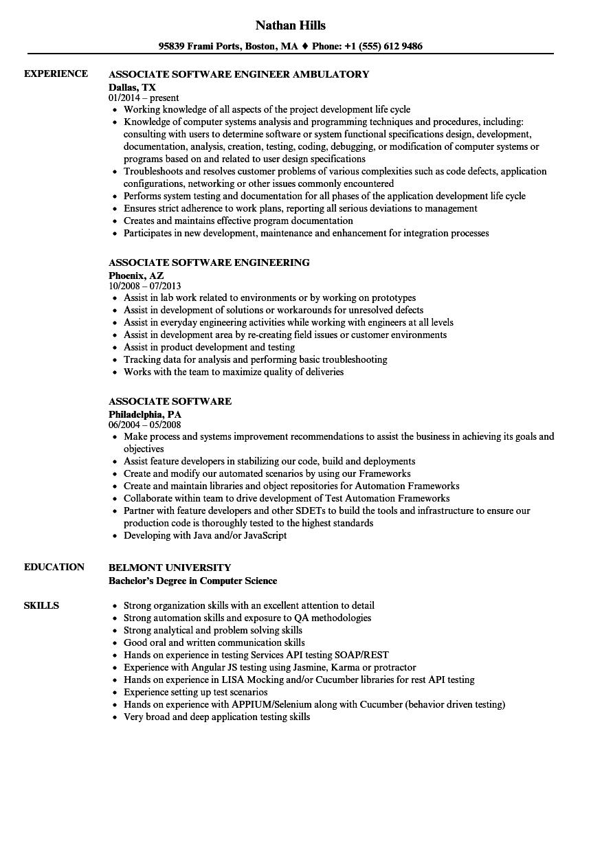 associate software resume samples  velvet jobs