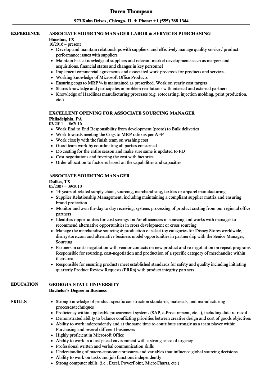 Associate Sourcing Manager Resume Samples | Velvet Jobs
