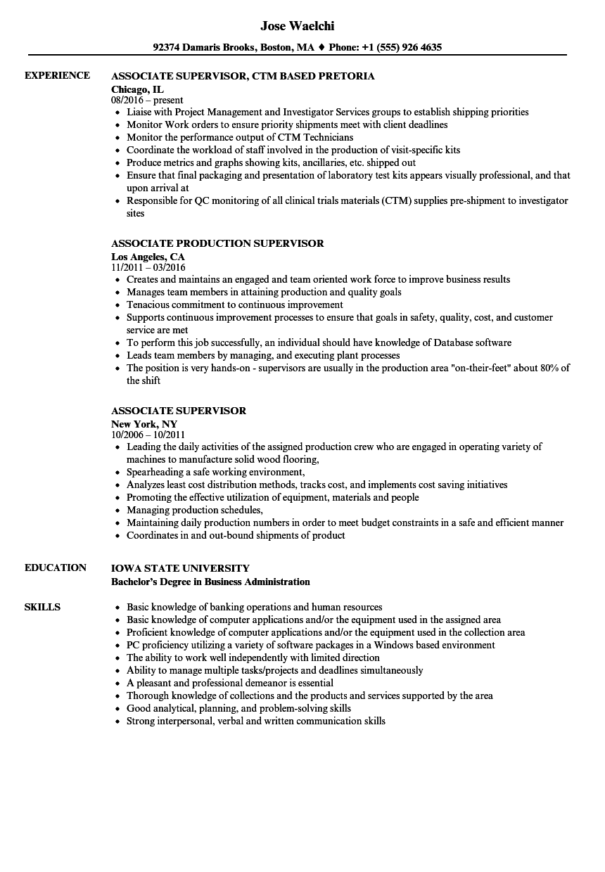 resume samples for supervisor positions - associate supervisor resume samples velvet jobs