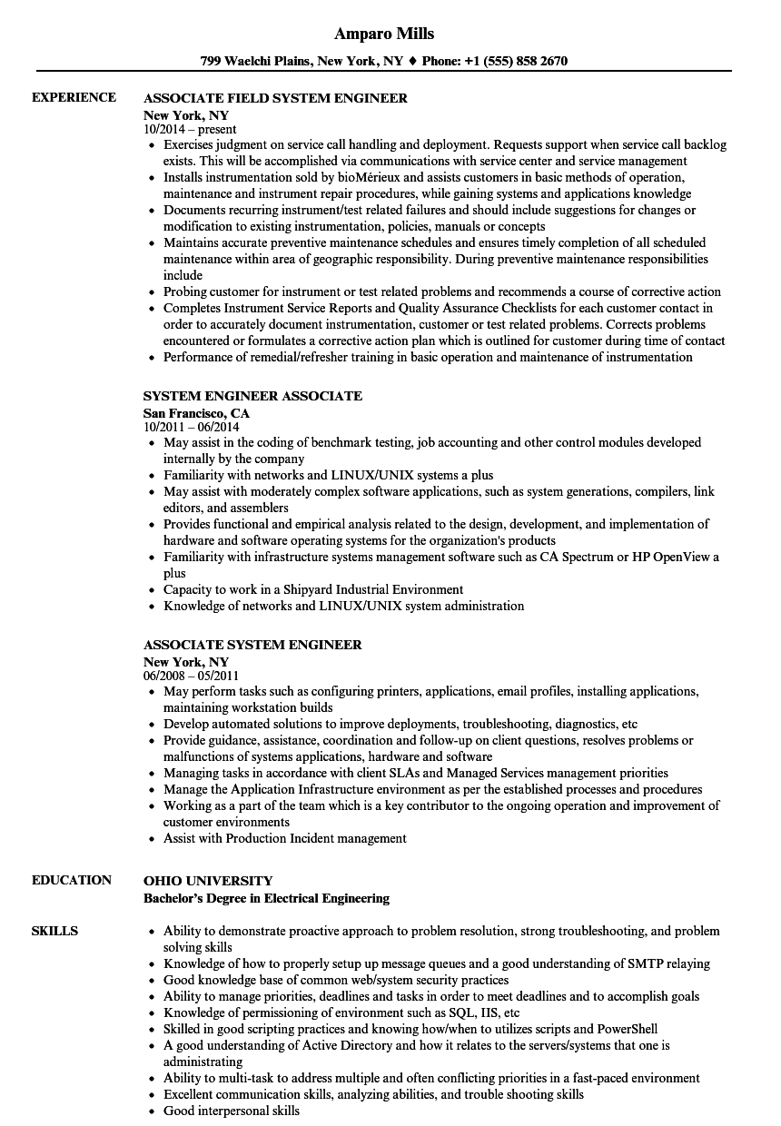 Associate System Engineer Resume Samples | Velvet Jobs