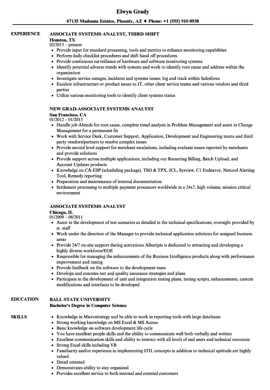 download associate systems analyst resume sample as image file associate analyst resume - Associate Analyst Sample Resume