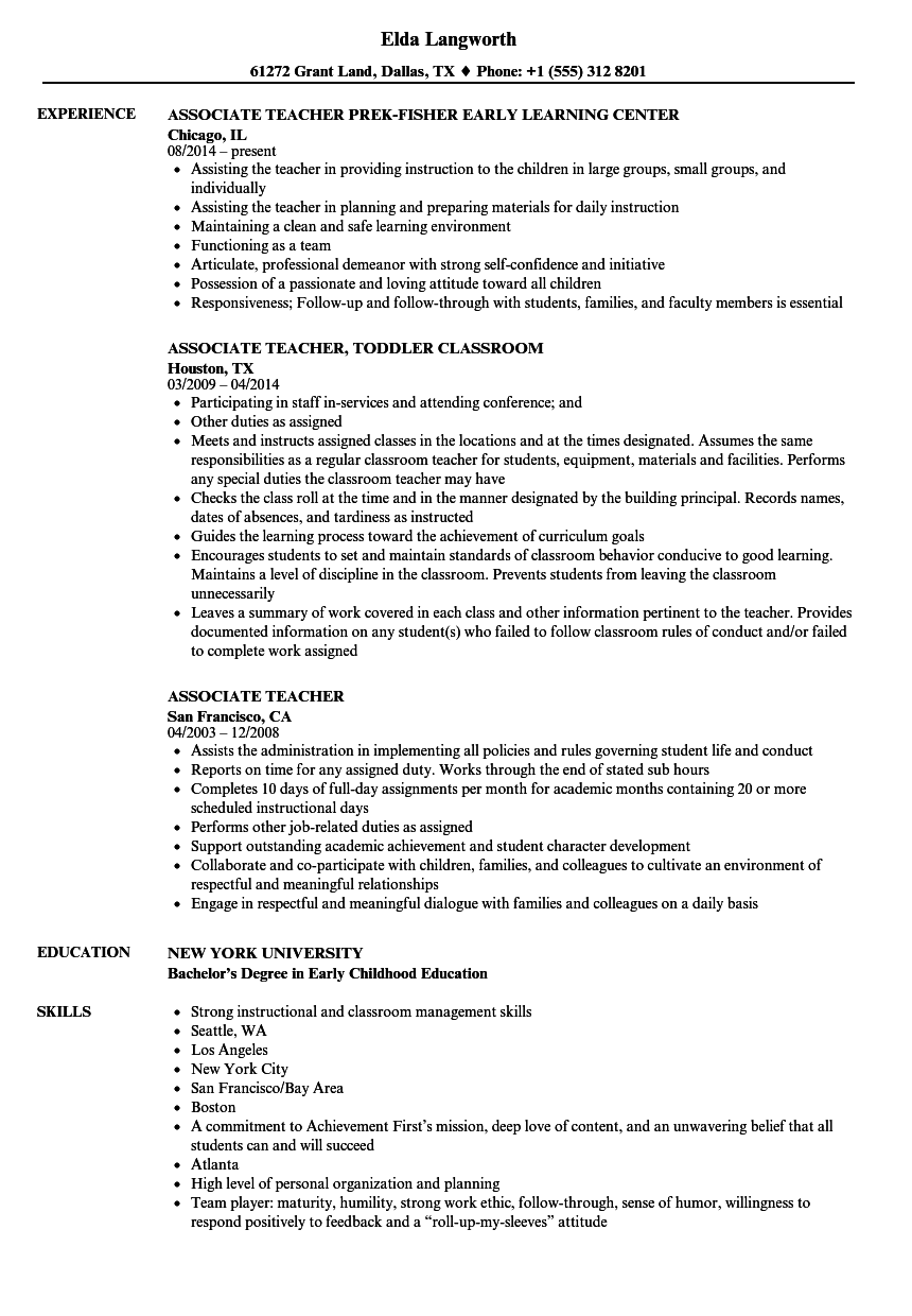 Download Associate Teacher Resume Sample As Image File  Early Childhood Education Resume