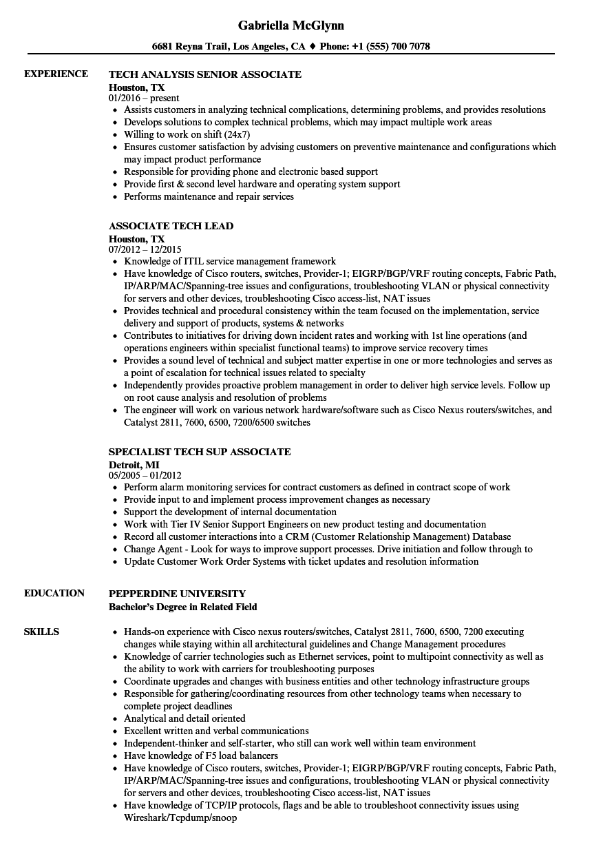 Download Associate Tech Resume Sample As Image File  Maintenance Tech Resume