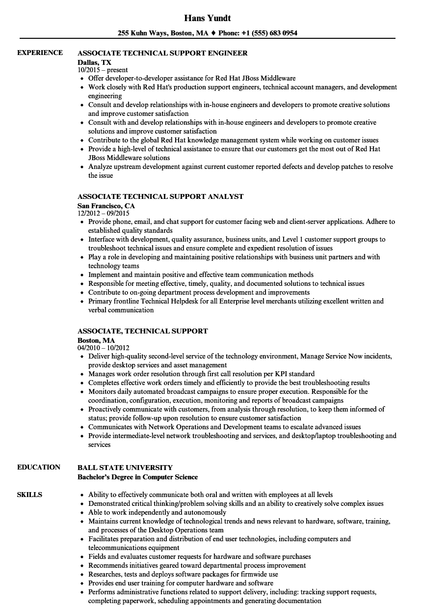 Associate, Technical Support Resume Samples | Velvet Jobs