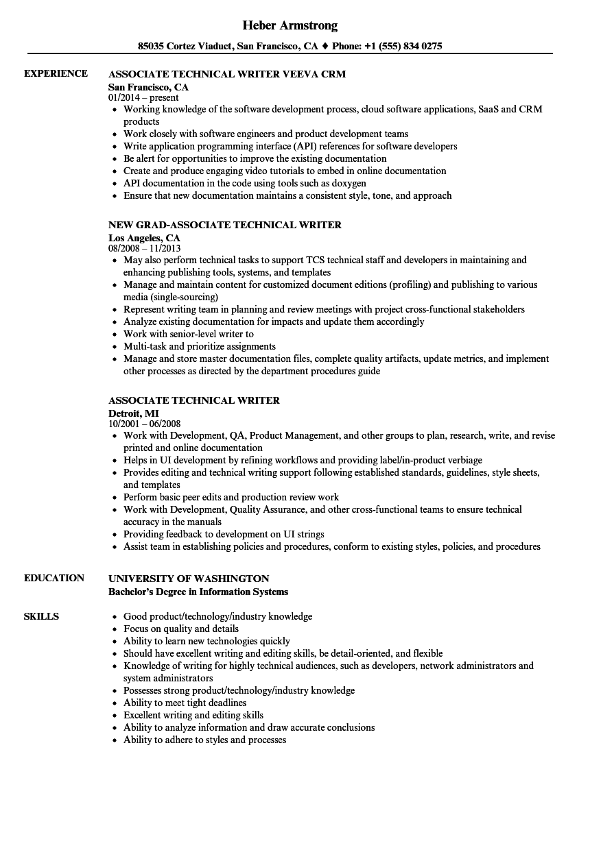 Download Associate Technical Writer Resume Sample As Image File