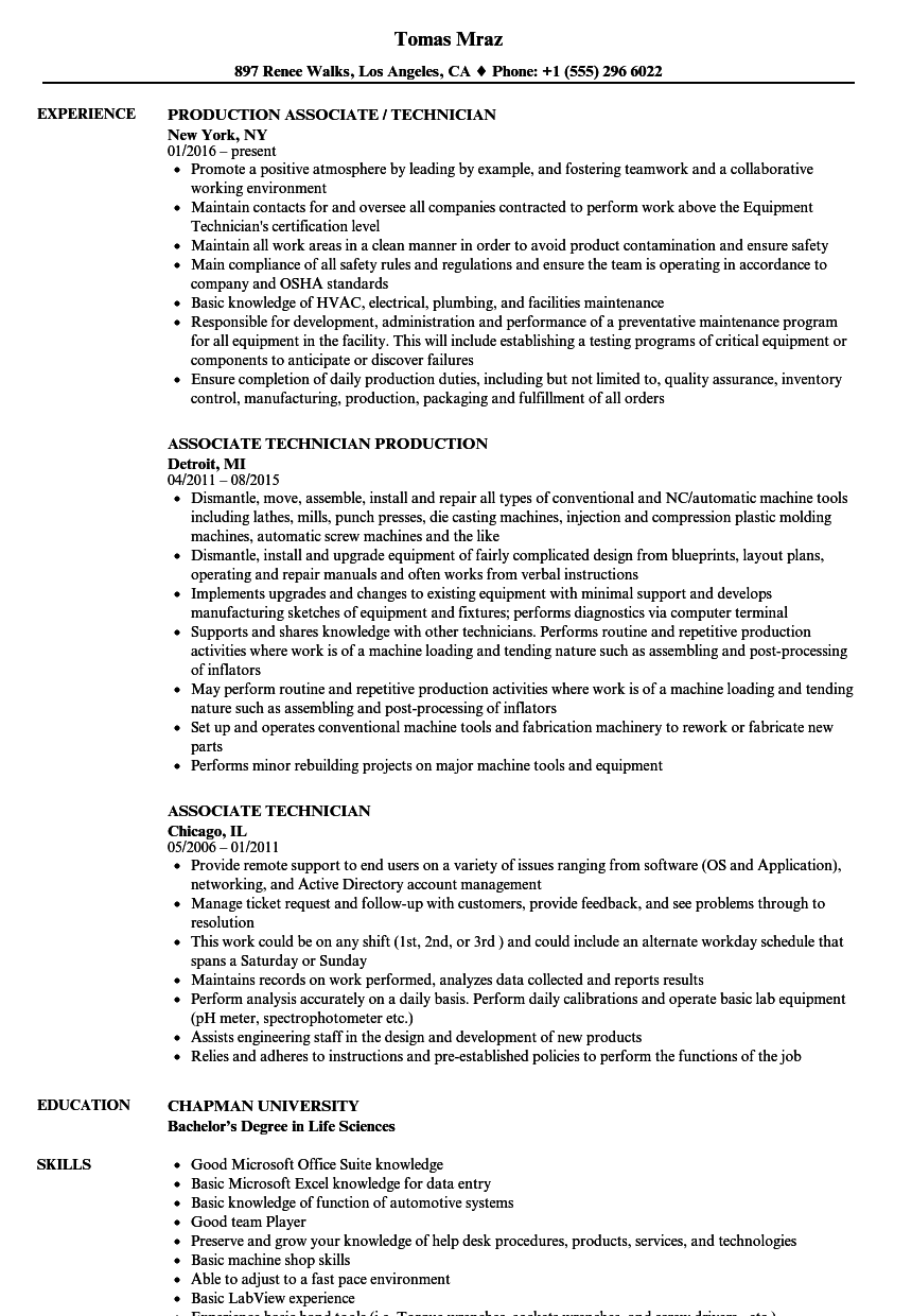 associate technician resume samples