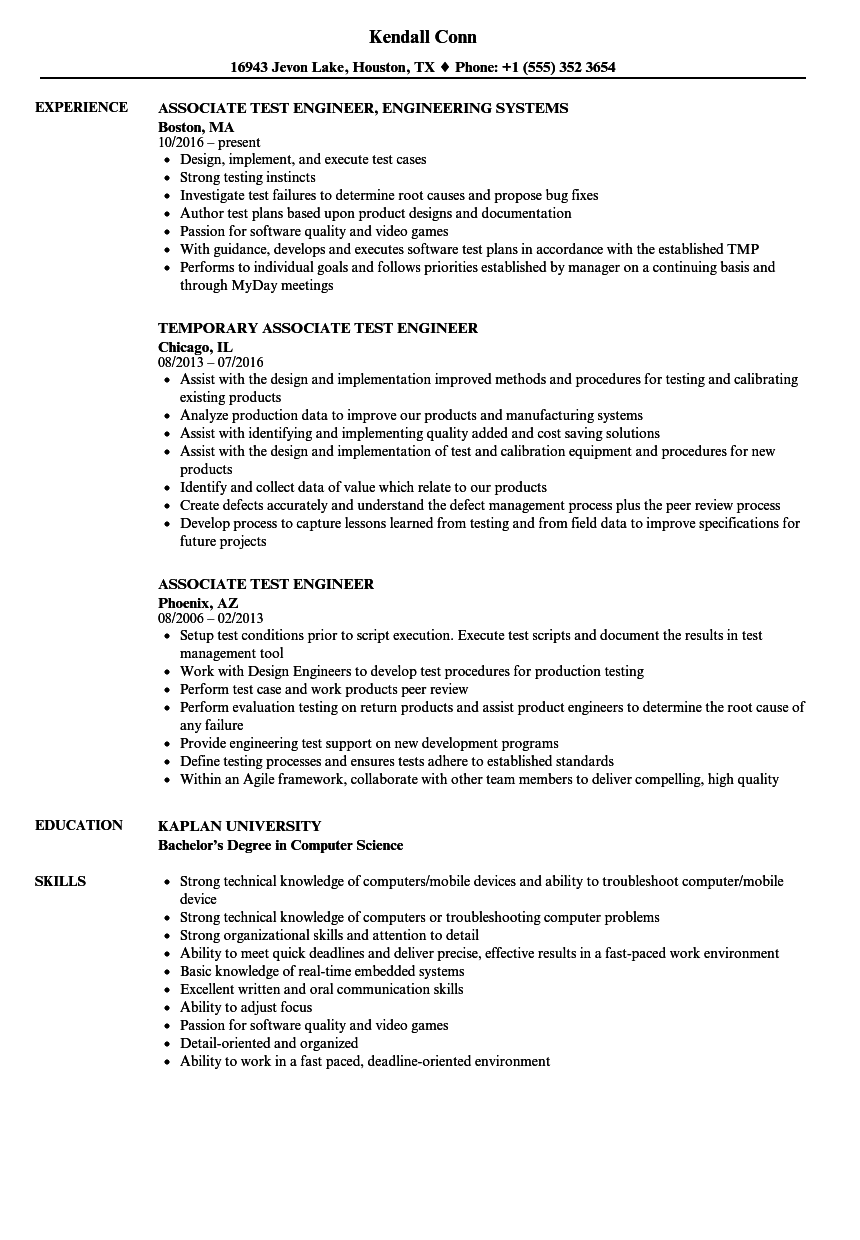 Associate Test Engineer Resume