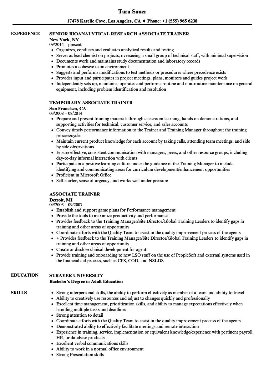 Associate Trainer Resume Samples Velvet Jobs