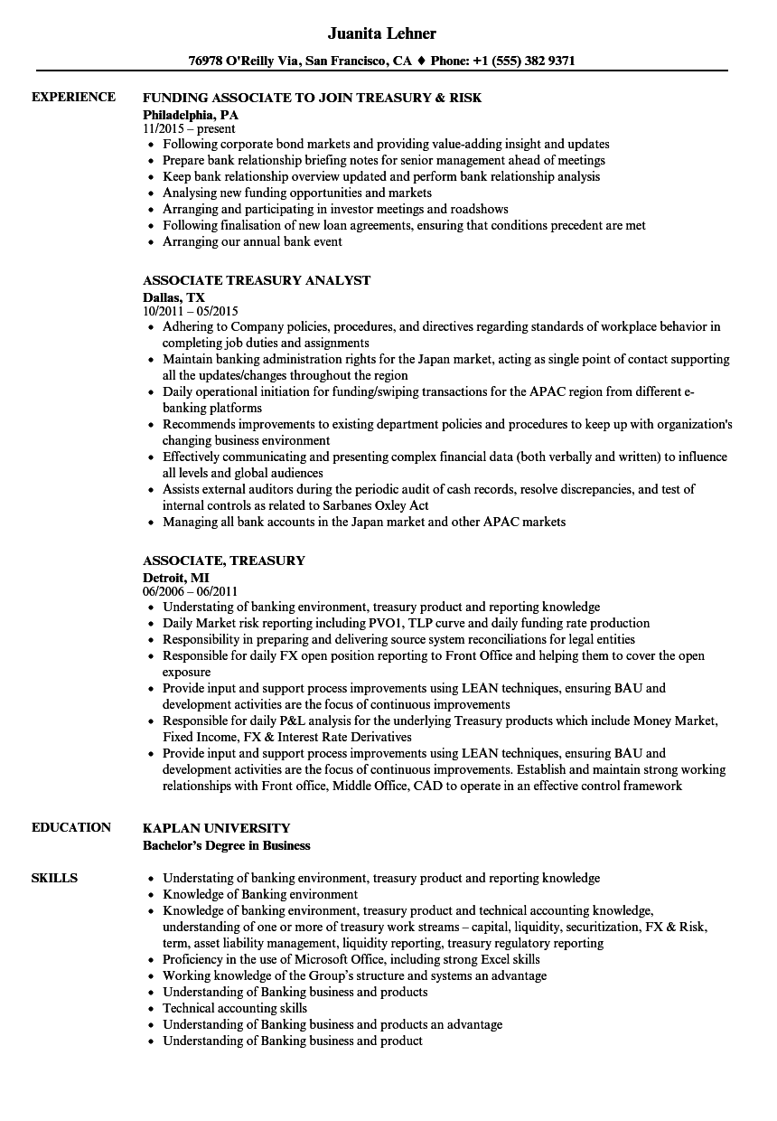 Associate, Treasury Resume Samples | Velvet Jobs