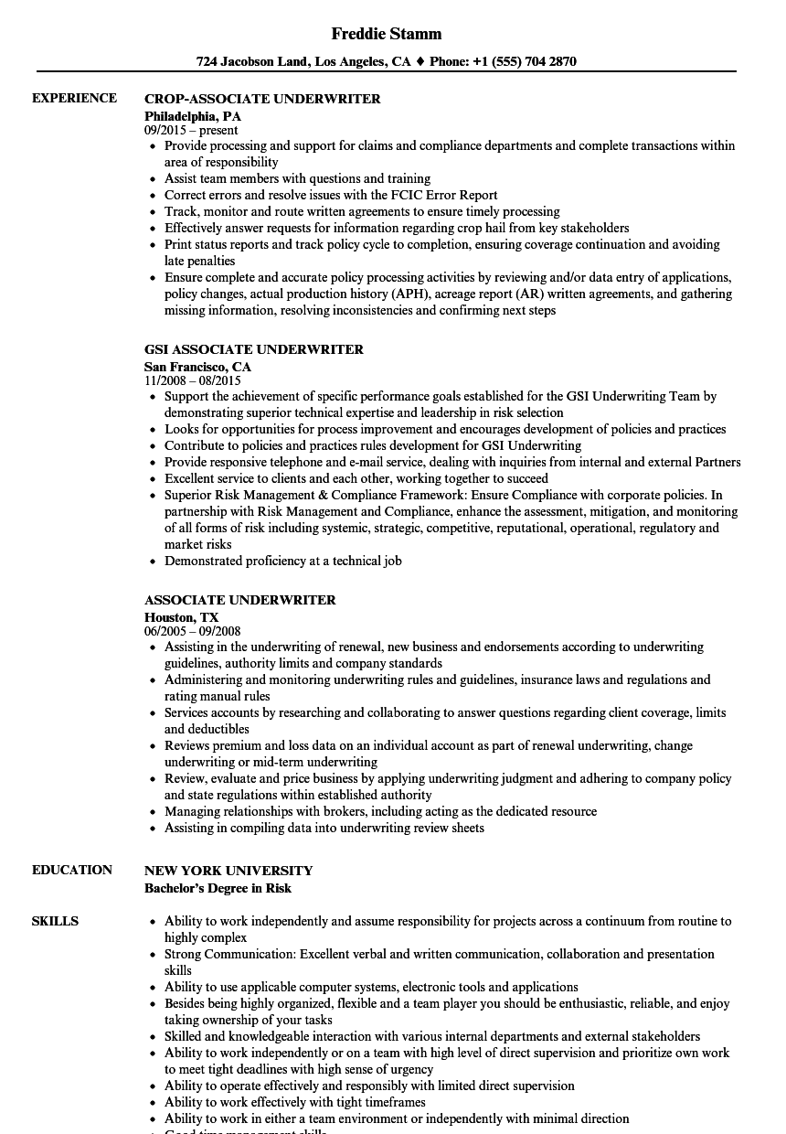associate underwriter resume samples