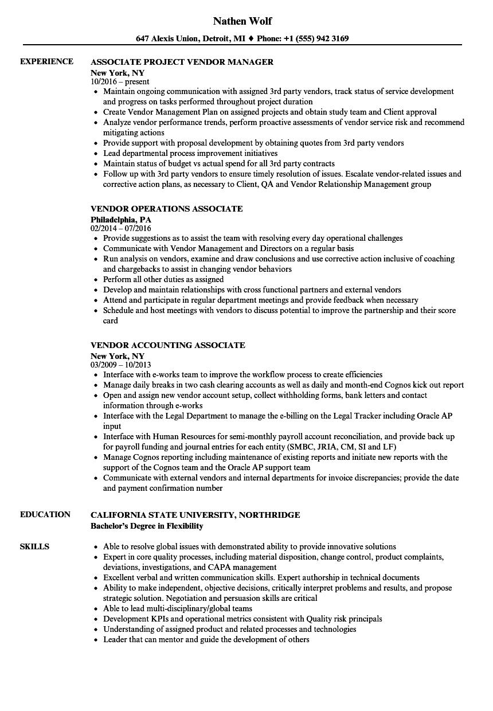 associate vendor resume samples