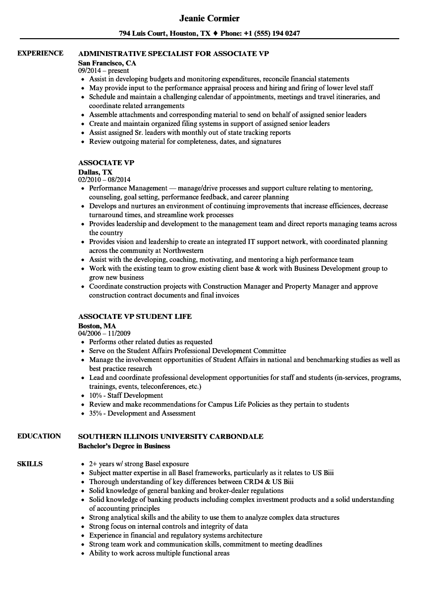 Associate VP Resume Samples | Velvet Jobs