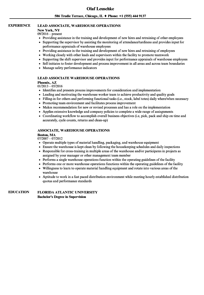 associate  warehouse operations resume samples