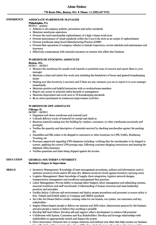 download associate warehouse resume sample as image file - Sample Warehouse Resume