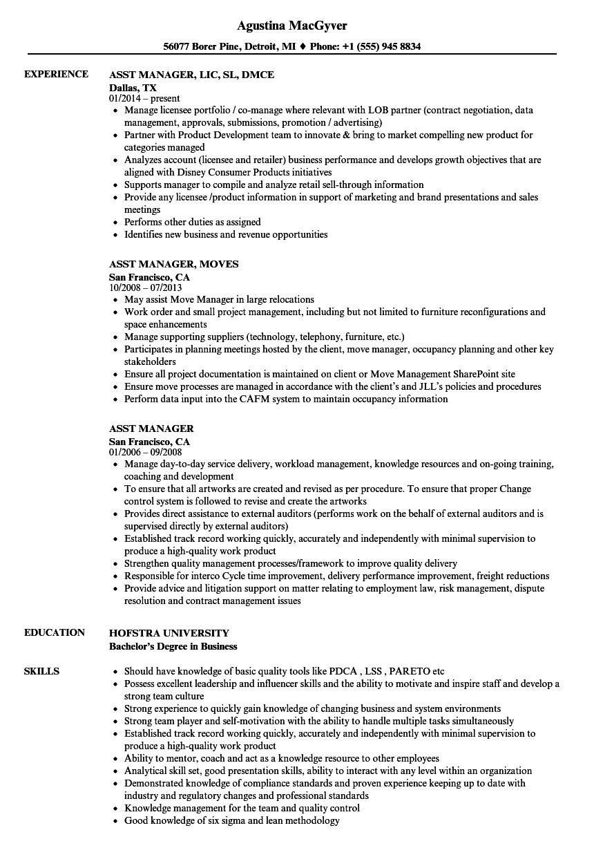 Asst Manager Resume Samples Velvet Jobs