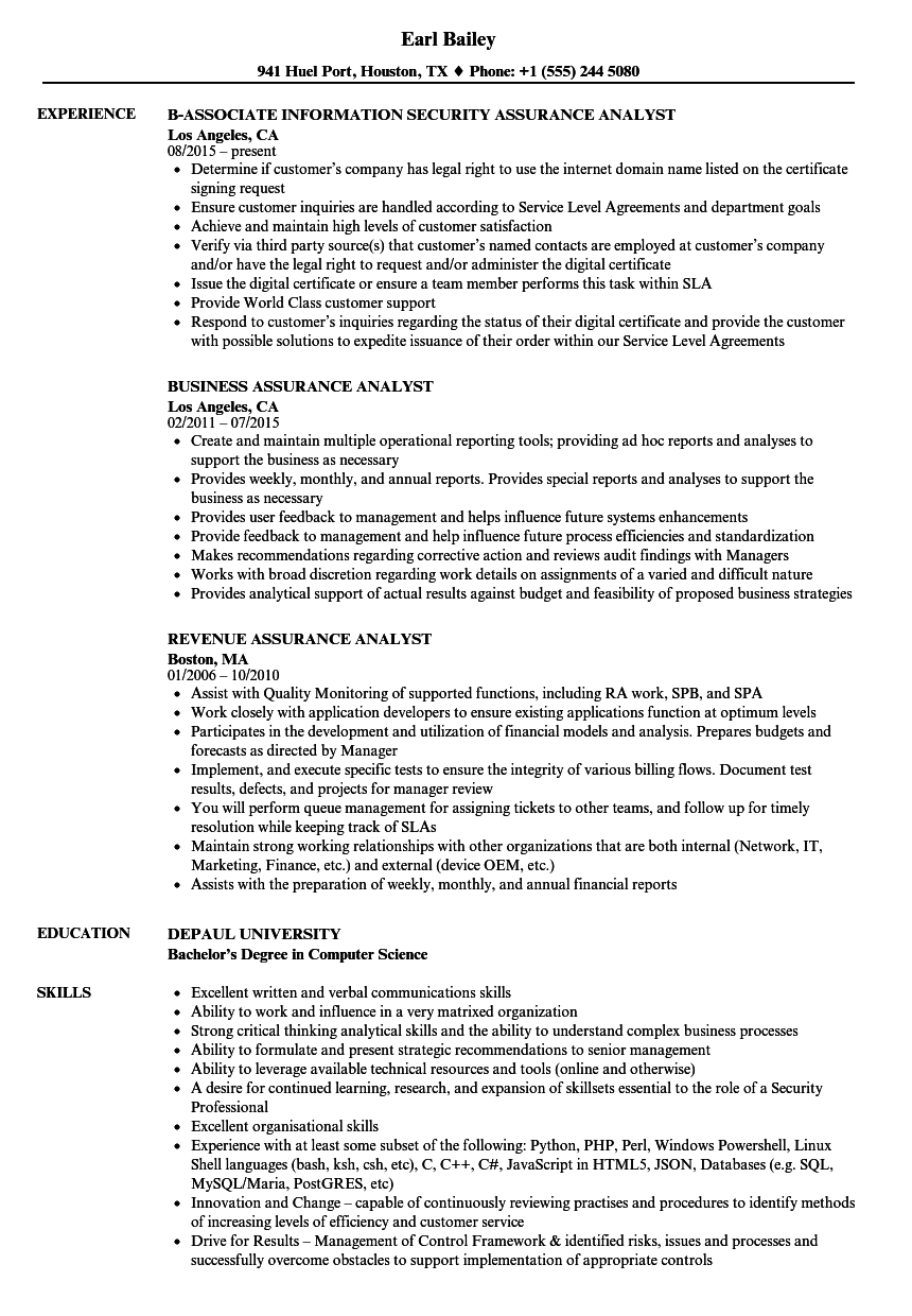 Assurance Analyst Resume Samples | Velvet Jobs