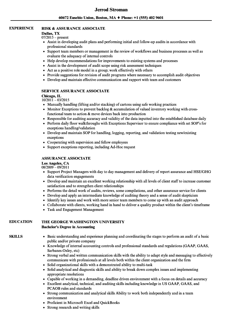 resume How To Put Cpa Exam On Resume assurance associate resume samples velvet jobs download sample as image file