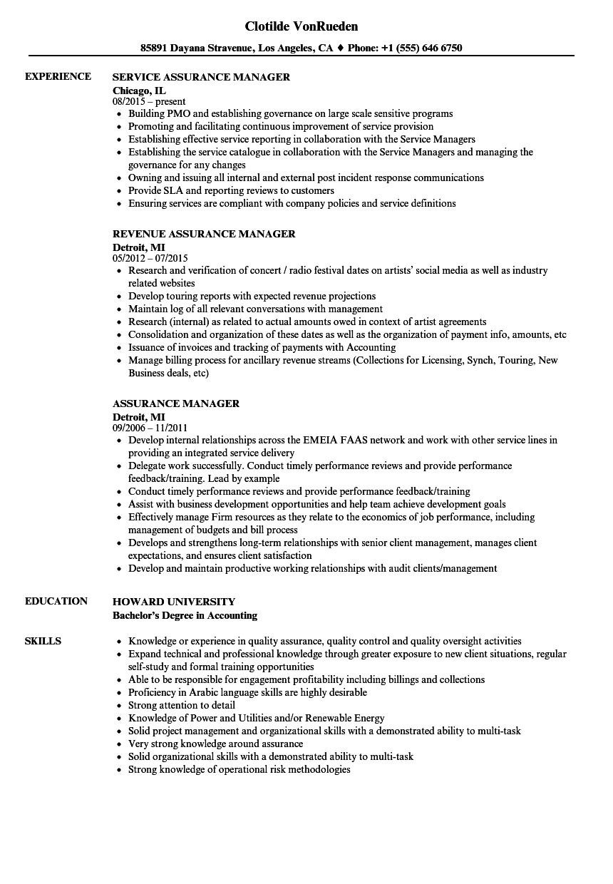 assurance manager resume samples