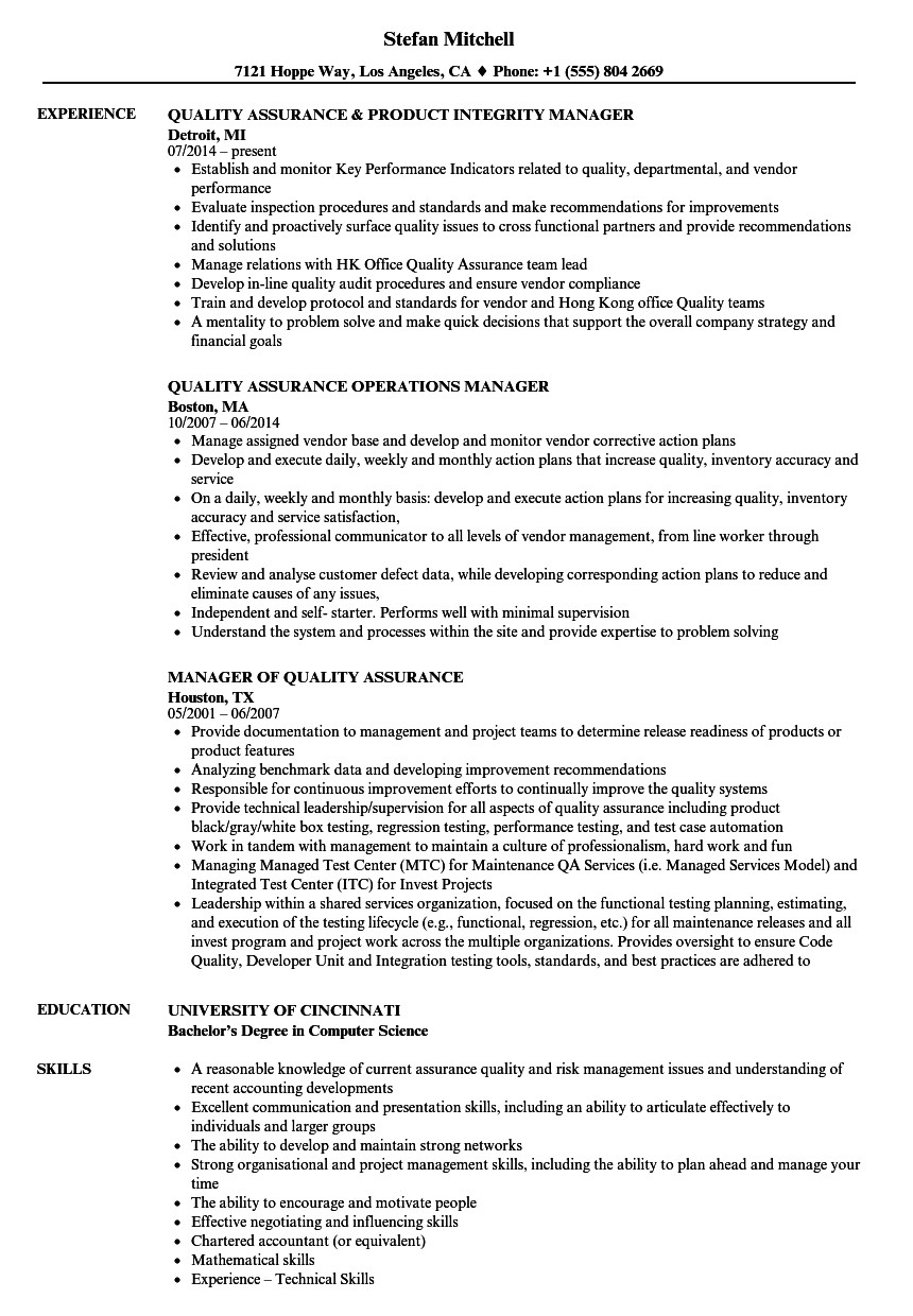 assurance quality manager resume samples