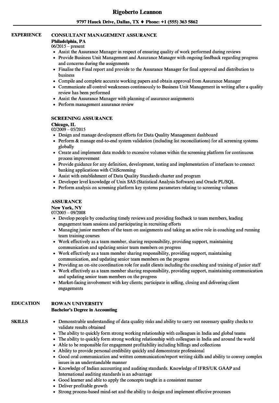 Assurance Resume Samples | Velvet Jobs