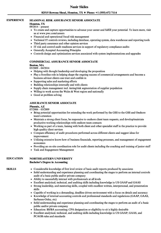 Assurance Senior Associate Resume Samples Velvet Jobs