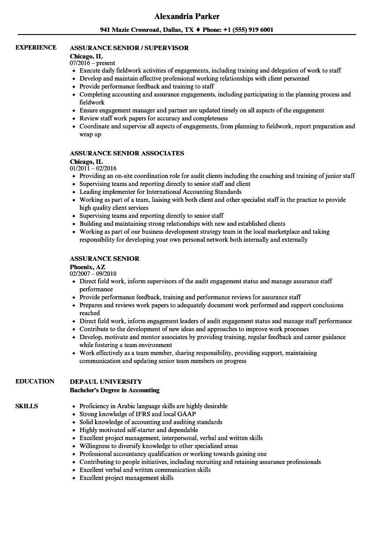 Assurance Senior Resume Samples Velvet Jobs Assurance Senior Resume Sample  Assurance Senior Resume Sample Reinsurance Accountant Sample Resume