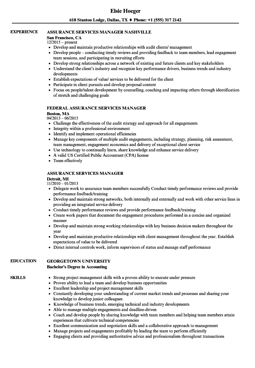 Assurance Services Manager Resume Samples