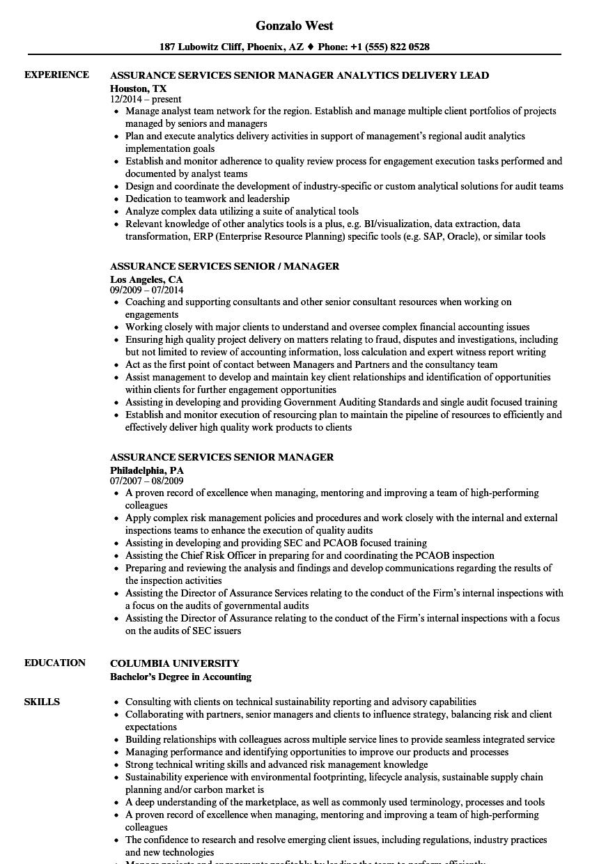 assurance services senior manager resume samples