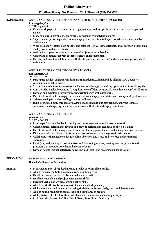 assurance services senior resume samples