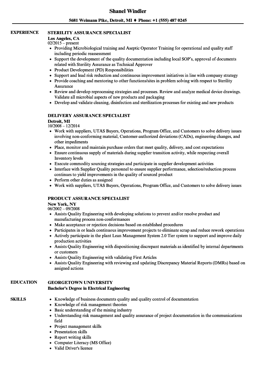 download assurance specialist resume sample as image file