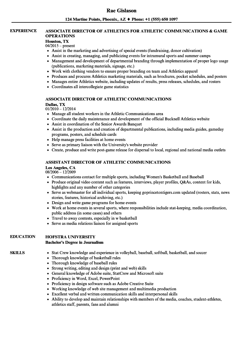 Download Athletic Communications Resume Sample As Image File