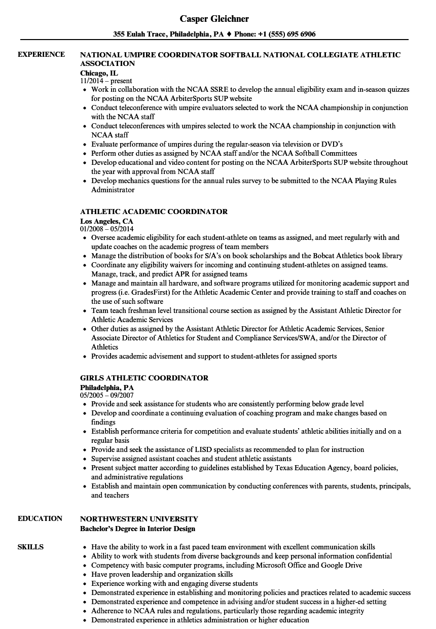 Download Athletic Coordinator Resume Sample As Image File