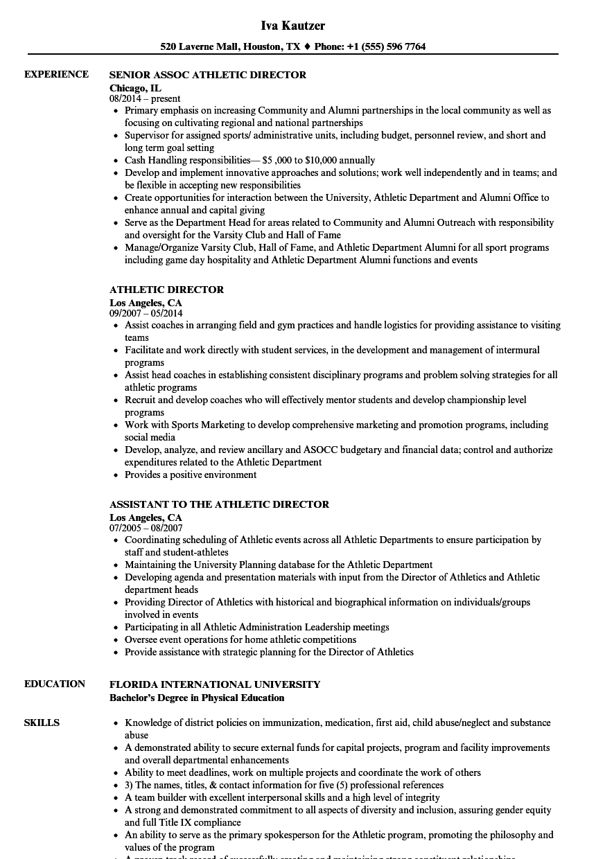 Download Athletic Director Resume Sample As Image File