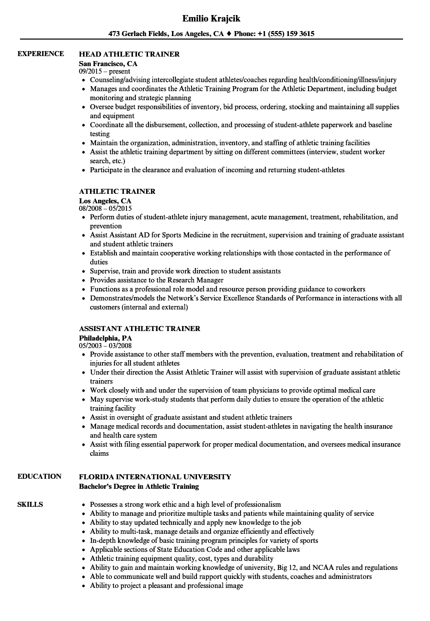 Download Athletic Trainer Resume Sample As Image File