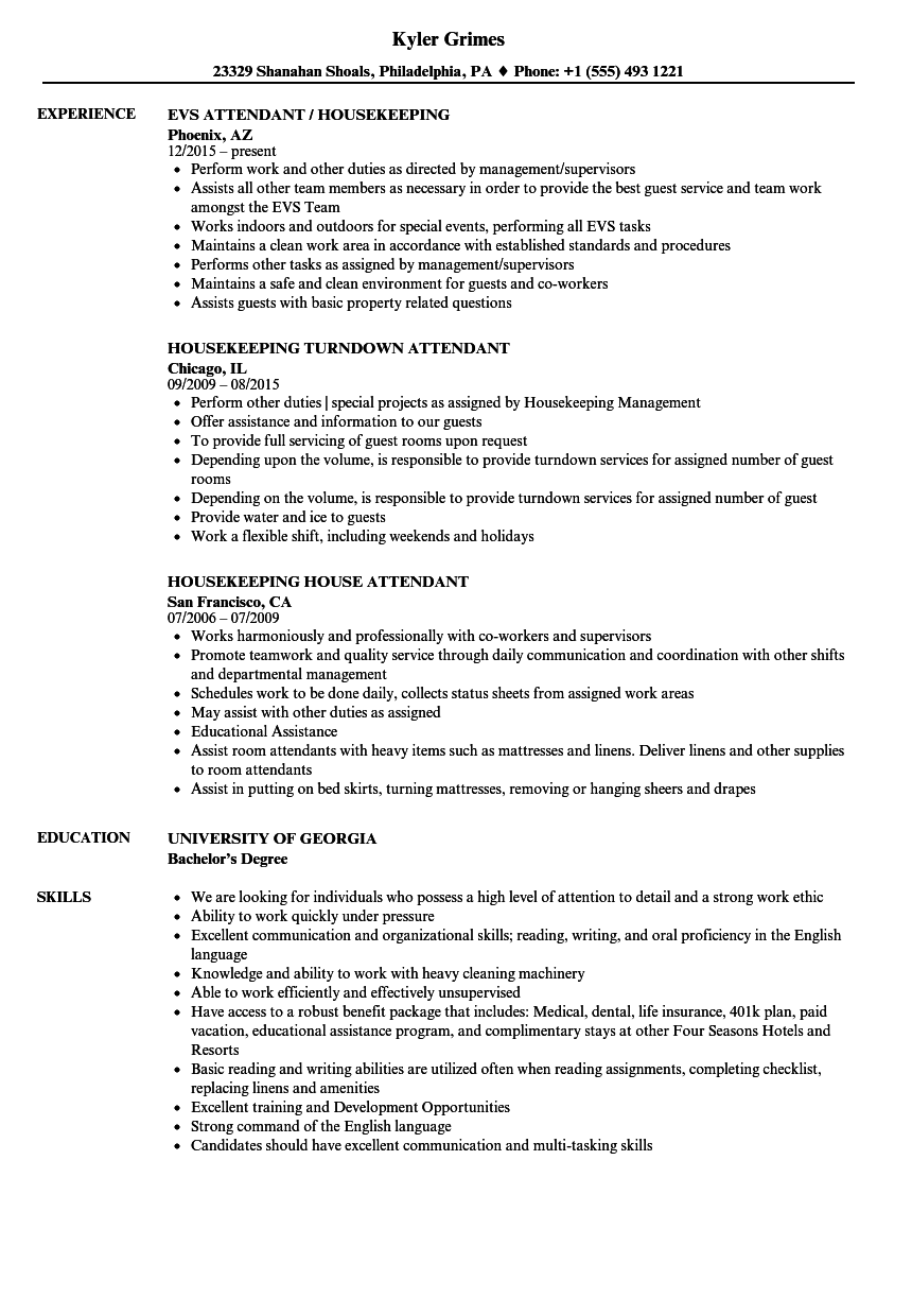 Attendant Housekeeping Resume Samples | Velvet Jobs