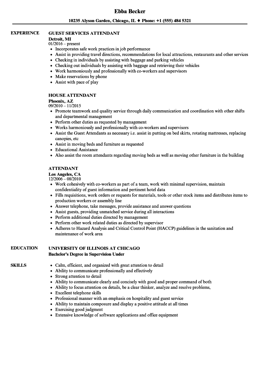 Attendant Resume Samples | Velvet Jobs