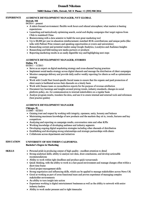 Audience Development Manager Resume Samples | Velvet Jobs