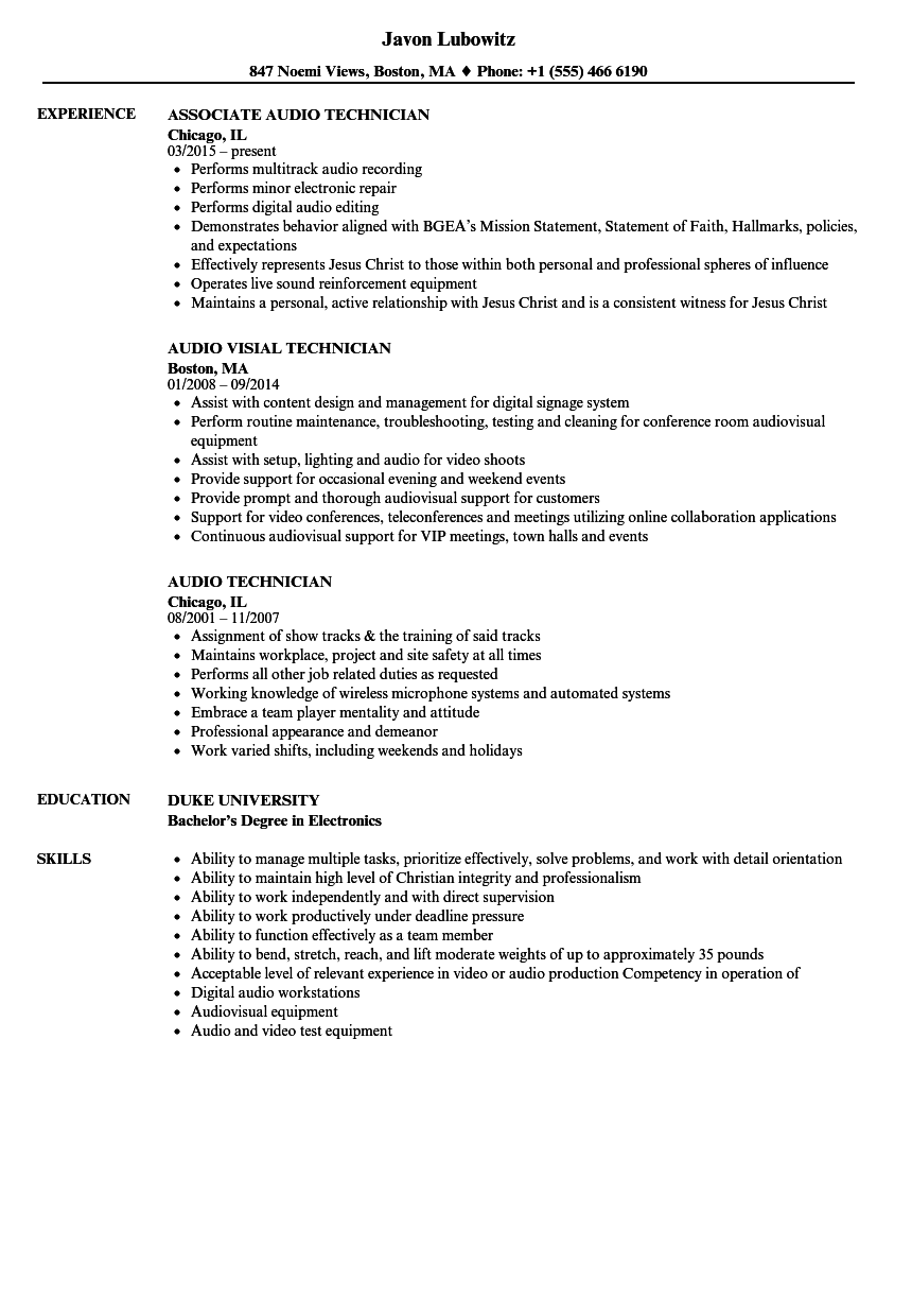 audio technician resume samples