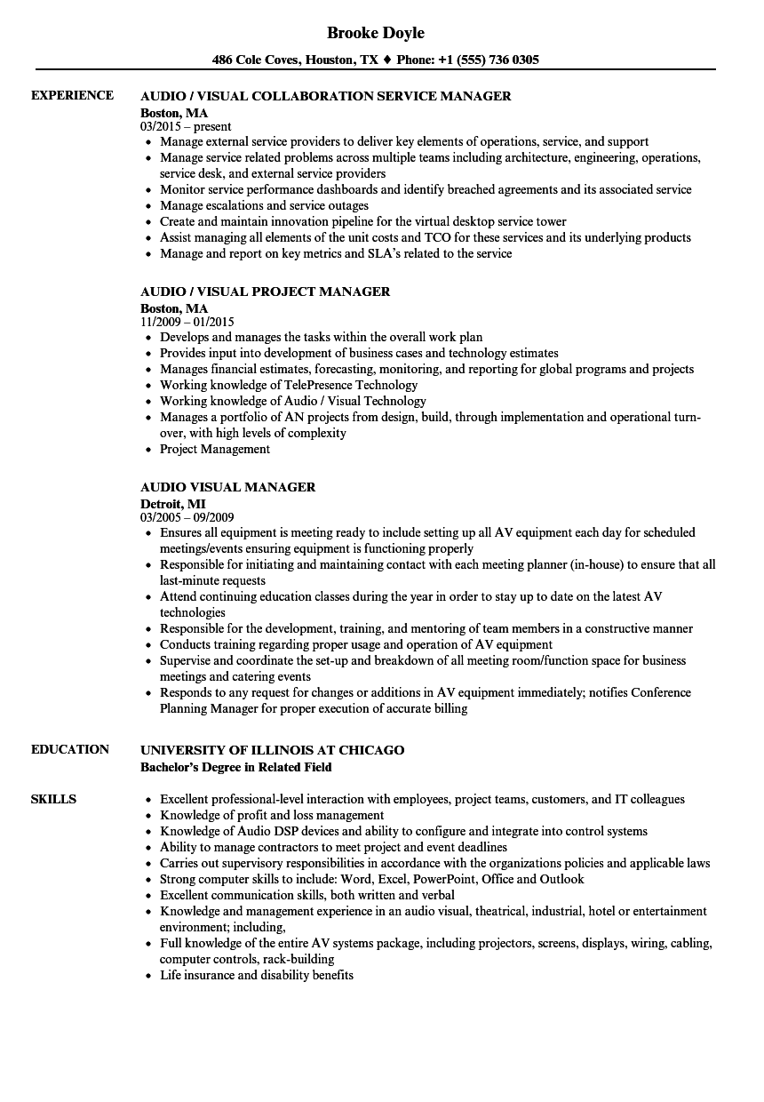 Audio Visual Manager Resume Samples  Velvet Jobs
